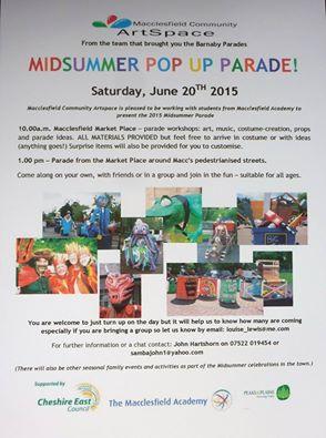 Midsummer Pop Up Parade THIS Saturday 20th June 2015