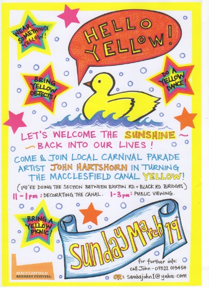 Hello Yellow: Sunday March 19th 2017 @ Macclesfield Canal 11am to 3pm