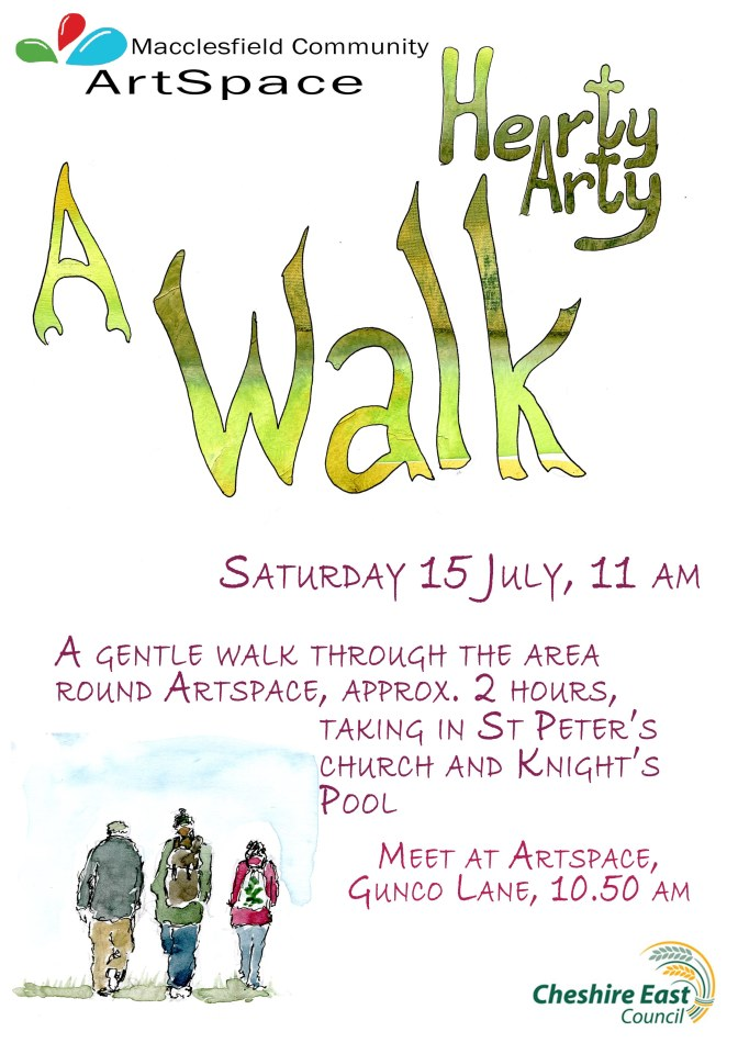 Next Hearty Arty Walk Saturday 15th July 11am from ArtSpace